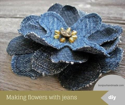 Making flowers with jeans – pattern and DIY tutorial PDF at Makerist