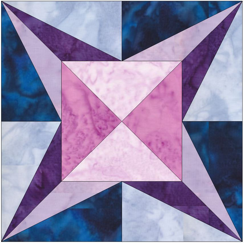 Love Star 15 Inch Block Quilting Template Pattern