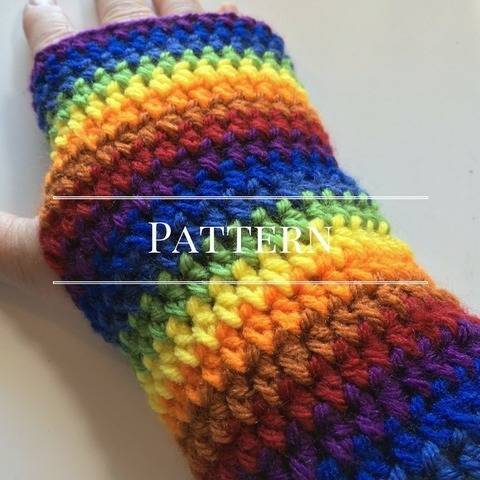 Rainbow Fingerless Glove, an Easy Pattern