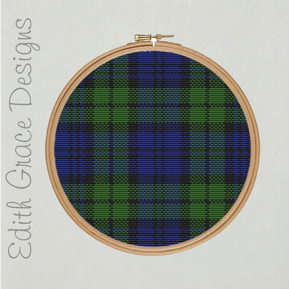 Black Watch Tartan Embroidery Pattern