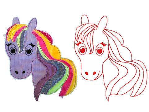 Luna Zauberpferdchen Redwork Doodle Stickdatei bei Makerist