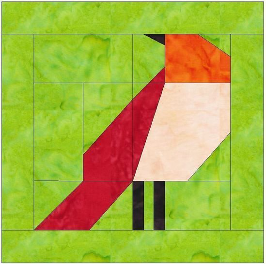 Bird 2 Paper Piecing Foundation Quilting Block Pattern at Makerist - Image 1