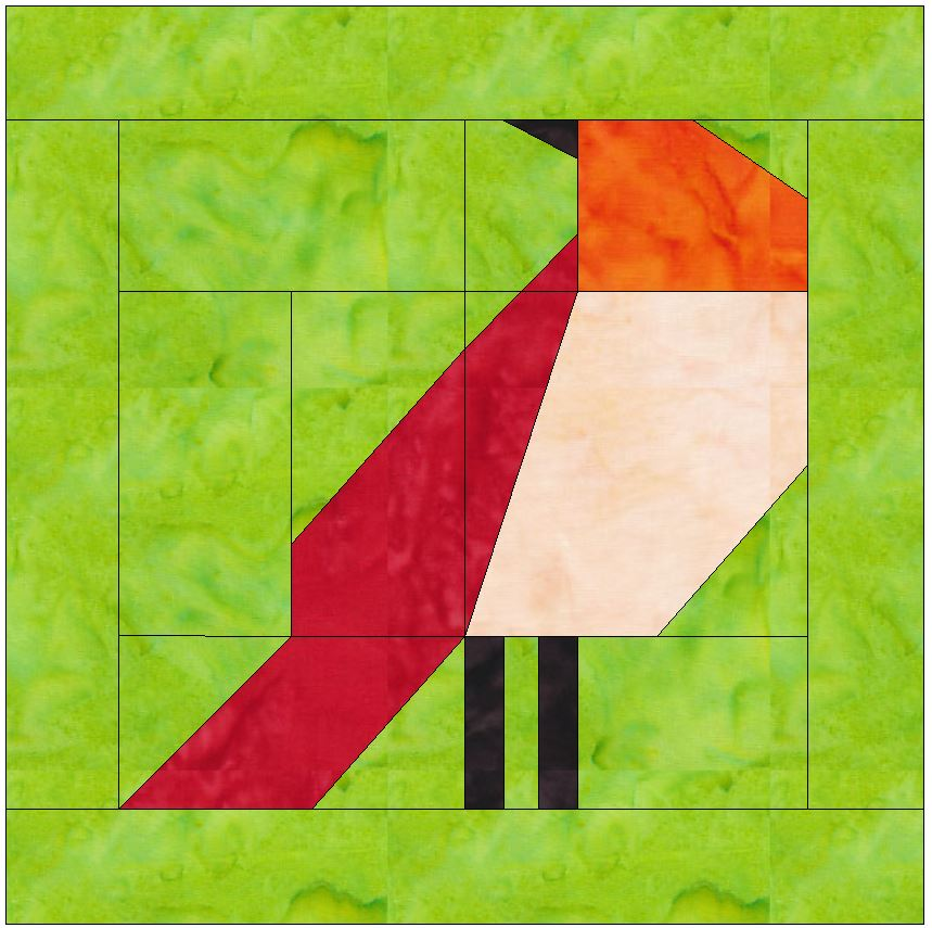 Bird 2 Paper Piecing Foundation Quilting Block Pattern