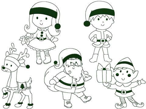 Redwork Serie Weihnachten Set 1 Stickdatei 13x18 bei Makerist