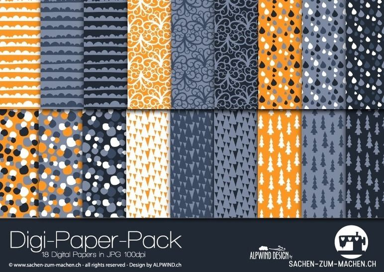 "Digi-Paper ""nature arts"" (orange/grey) bei Makerist - Bild 1"