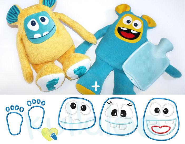 Schnittmuster Monster & Wärmflaschenbezug inkl. Stickdateien bei Makerist - Bild 1