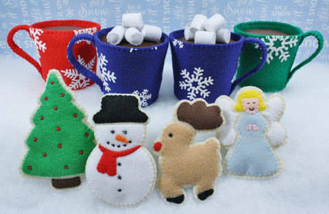 Felt Food Sewing Pattern Cocoa and Christmas Cookies at Makerist