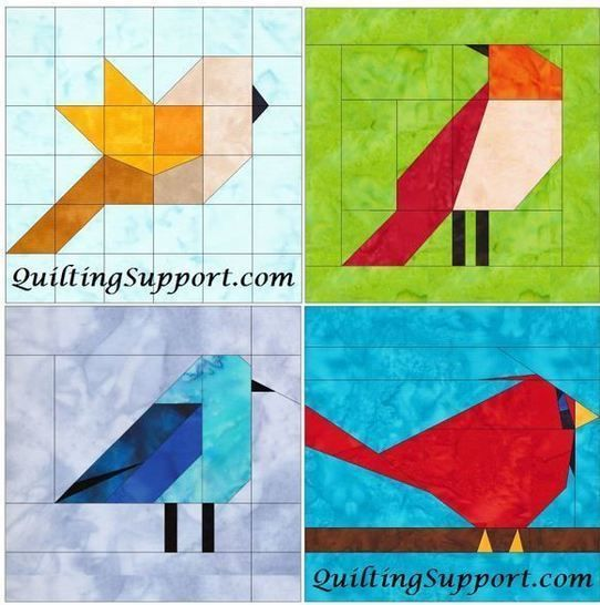 10 Inch Birds Set 1 Paper Piecing Foundation Block Quilting Patterns at Makerist - Image 1