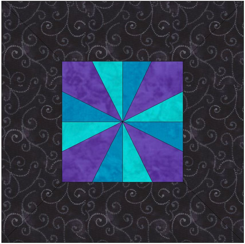 Framed Pinwheel 15 Inch Block Template Quilting Pattern