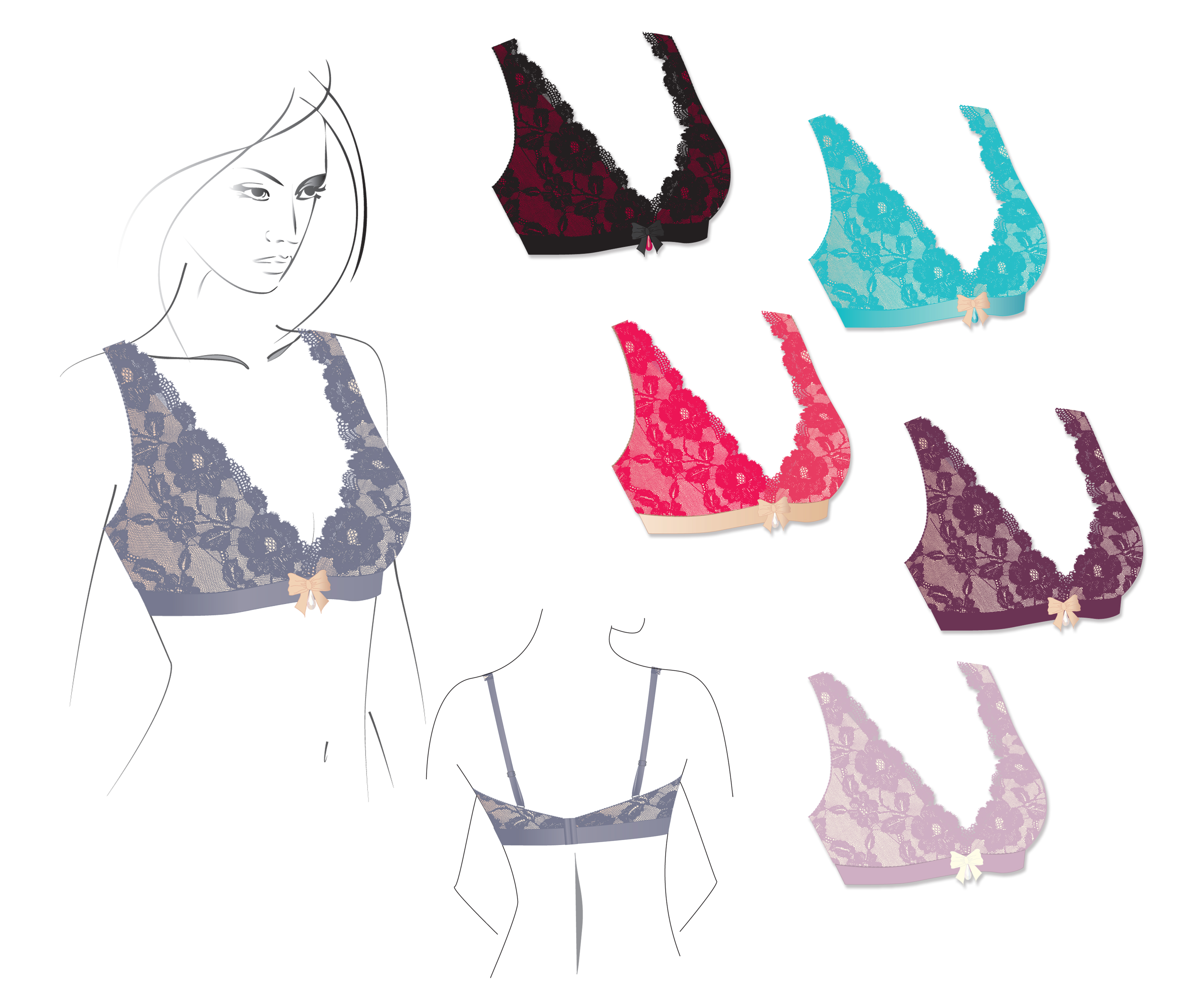 Wire Free Bralette - Detailed Sewing instructions and pattern