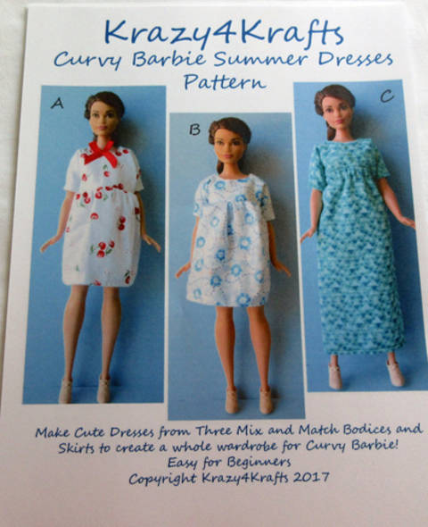Barbie Curvy Doll Summer Dresses Sewing Pattern
