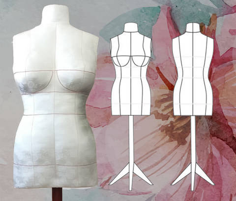 DIY Dress Form PDF Sewing Pattern, Sizes 2,4,6,8,10,12,14 (Bra Cups A,B,C,D,DD/E). Plus Complete Step-by-Step Sewing Photo-Guide.
