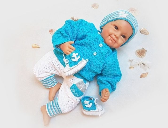Häkelanleitung Babyset ~ Ahoi ~ Größe 50 - 68 bei Makerist - Bild 1