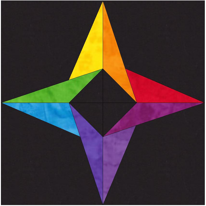 15 Inch incredible Rainbow Star Template Block Quilting Pattern