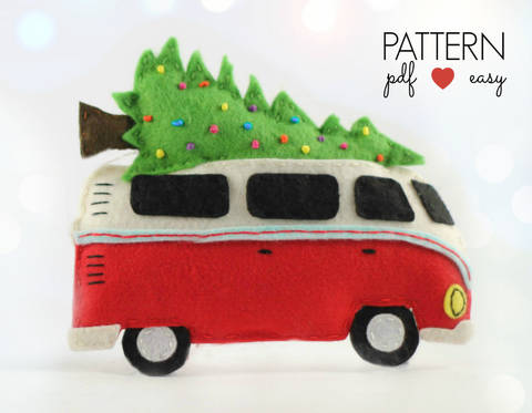 VW Bus Camper Christmas Ornament Pattern
