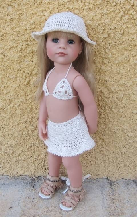 Beach wear : crochet outfit for 45-55 cm doll at Makerist