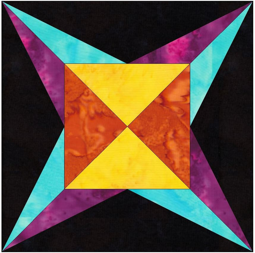 Flame Star 6 Inch Paper Piecing Foundation Quilting Block Pattern