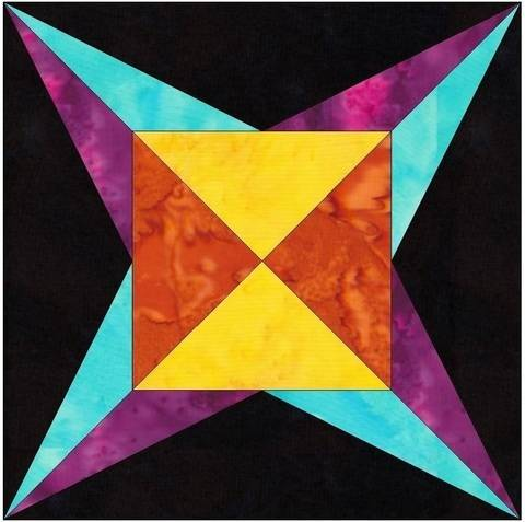 Flame Star 6 Inch Paper Piecing Foundation Quilting Block Pattern at Makerist