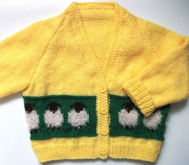 Sheepy Cardigan for Girls and Boys-detailed knitting pattern at Makerist - Image 1