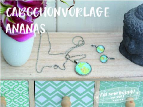 Druckvorlage für Cabochons mit Ananas in vielen Größen gewerbliche Nutzung bei Makerist