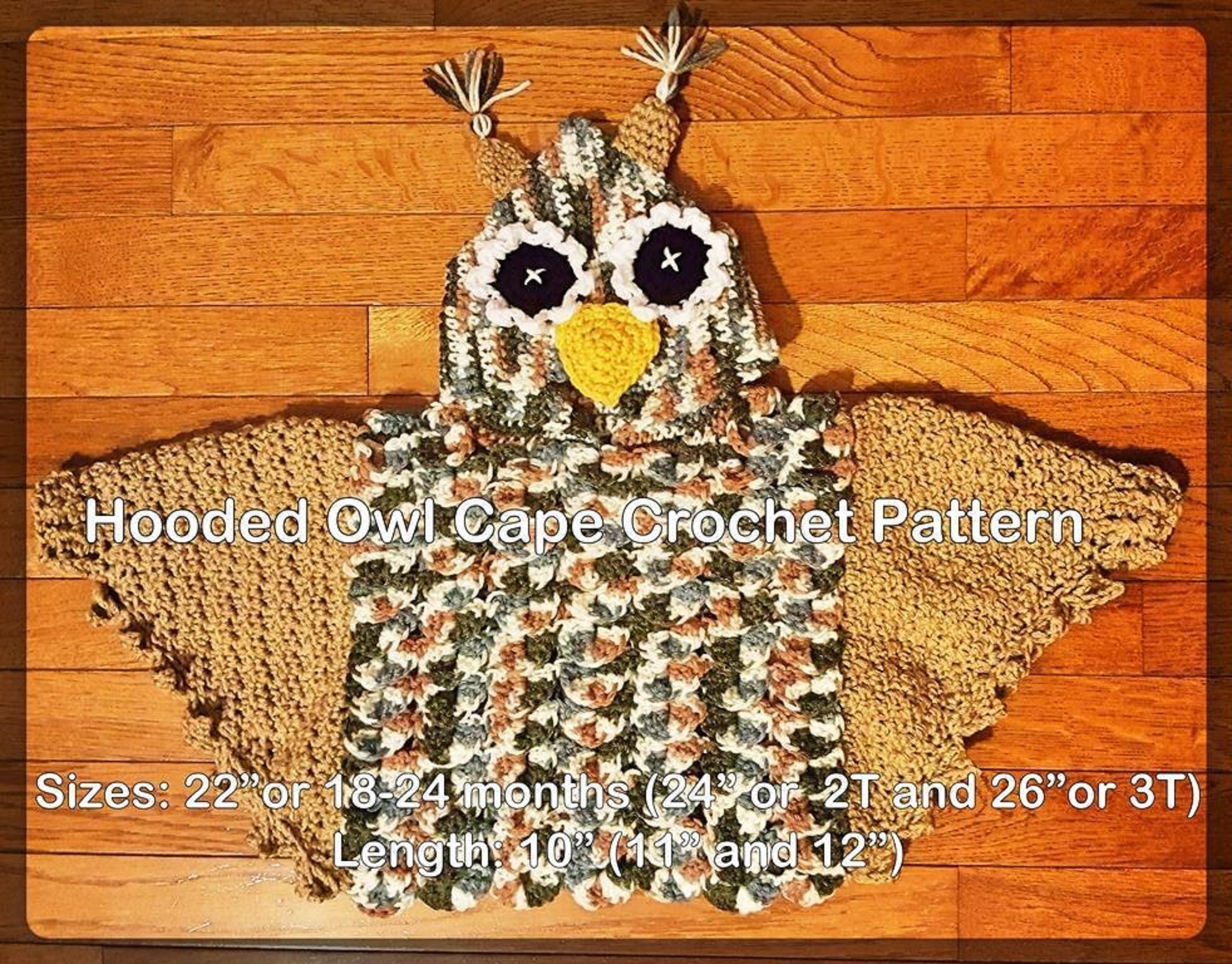 Hooded Owl Poncho in 3 sizes 18 months, 2 T and 3T