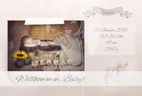 "Grusskarte  Yela`s Kreativ Atelier "" Geburt Vintage shoes "" PSD"