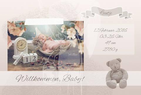 "Grusskarte  Yela`s Kreativ Atelier "" Geburt Vintage Teddy"" PSD"