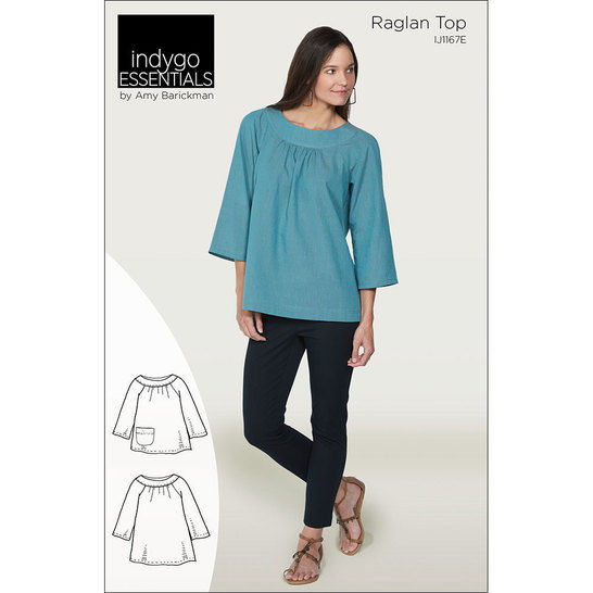 Indygo Essentials: Raglan Top Digital PDF Sewing Pattern - Two lengths with flared three quarter length sleeves Sizes SM - 3X at Makerist - Image 1