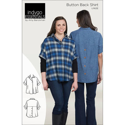 Indygo Essentials: Button Back Shirt Digital PDF Sewing Pattern - collared oversized shirt with a classic look Size SM - 3X at Makerist