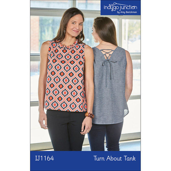 Turn About Tank Digital PDF Sewing Pattern - Four Ways to Wear! V-neck or circle, laces or ruffles. at Makerist - Image 1