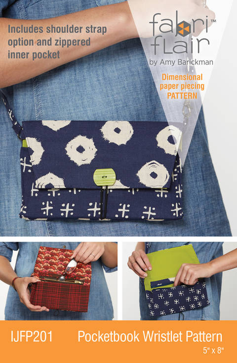 Fabriflair™ Pocketbook Wristlet Digital PDF Pattern — dimensional paper piecing project instructions at Makerist
