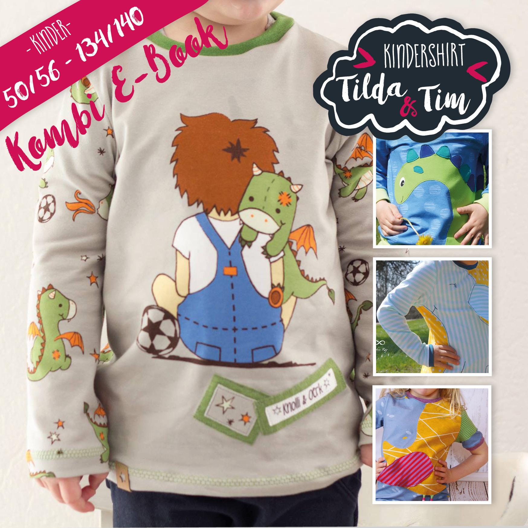 Ebook Kindershirt Tilda & Tim Kombi Ganz 50/56 - 134/140
