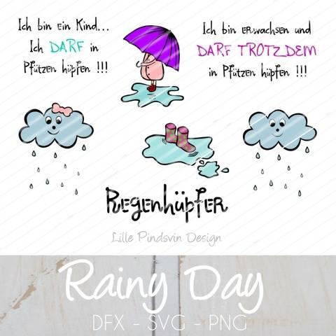 """Plotterdatei """"Rainy Day"""" Mädchen/Schirm/Wolke/Gummistiefel"""
