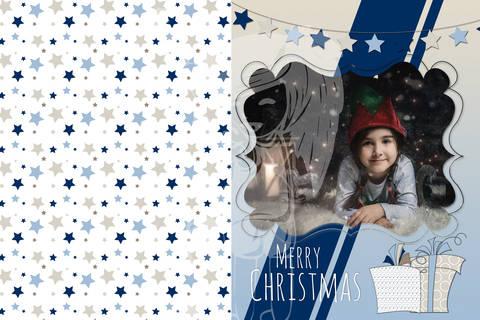"Grusskarte  Yela`s Kreativ Atelier "" Christmas Vintage BLUE "" PSD"