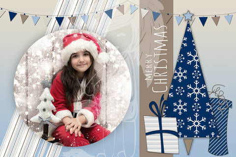 "Grusskarte  Yela`s Kreativ Atelier "" Christmas Vintage BLUE2 "" PSD"