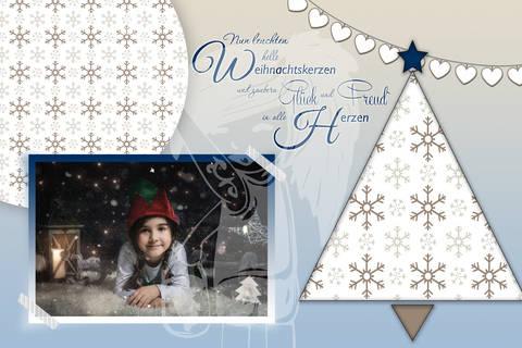 "Grusskarte  Yela`s Kreativ Atelier "" Christmas Vintage BLUE3 "" PSD"