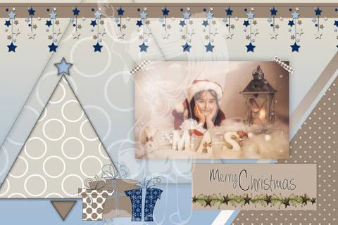 "Grusskarte  Yela`s Kreativ Atelier "" Christmas Vintage BLUE4"" PSD"