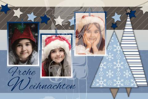 "Grusskarte  Yela`s Kreativ Atelier "" Christmas Vintage BLUE5"" PSD"