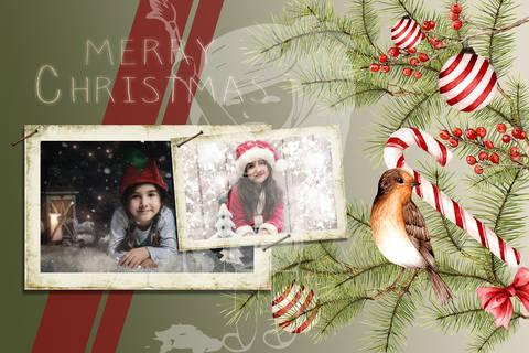"Grusskarte  Yela`s Kreativ Atelier "" Christmas Vintage RED2 "" PSD"
