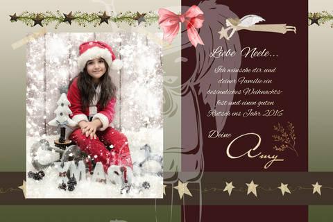 "Grusskarte  Yela`s Kreativ Atelier "" Christmas Vintage RED3 "" PSD"