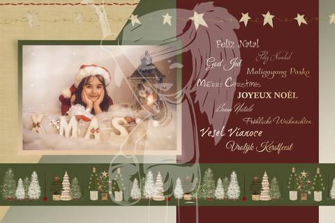 "Grusskarte  Yela`s Kreativ Atelier "" Christmas Vintage RED5 "" PSD"