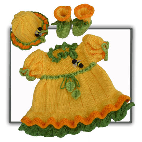 Daffodil Baby Dress, Booties and Bonnet Hat (en)