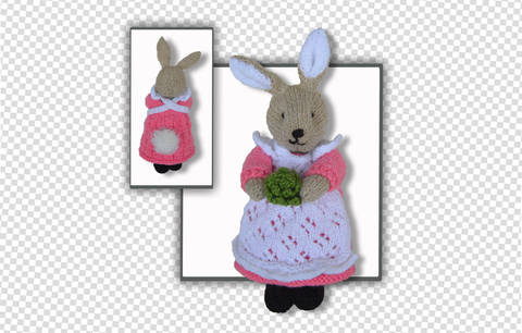 Beatrix Flufftail Bunny Rabbit - knitted toy (en)