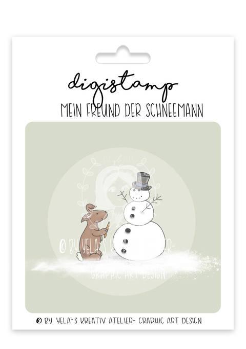 """Digistamp Yela`s Kreativ Atelier """" Mein Freund der Schneemann"""" PNG"""
