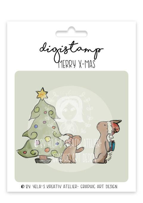 "Digistamp Yela`s Kreativ Atelier "" Merry Xmas"" PNG"