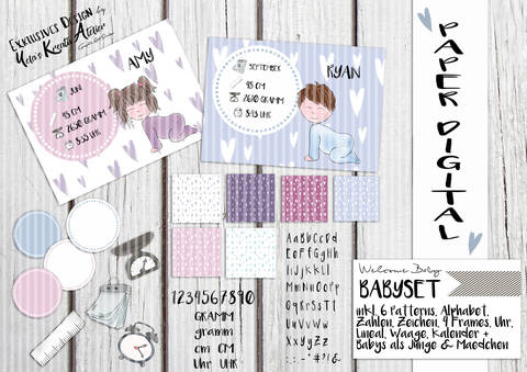 "Digistamp/ Digipaper Yela`s Kreativ Atelier "" Welcome Baby """