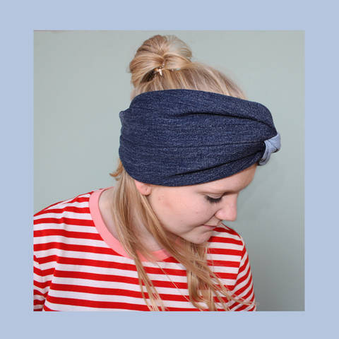 Denim-Stirnband im Turban-Look Nähanleitung