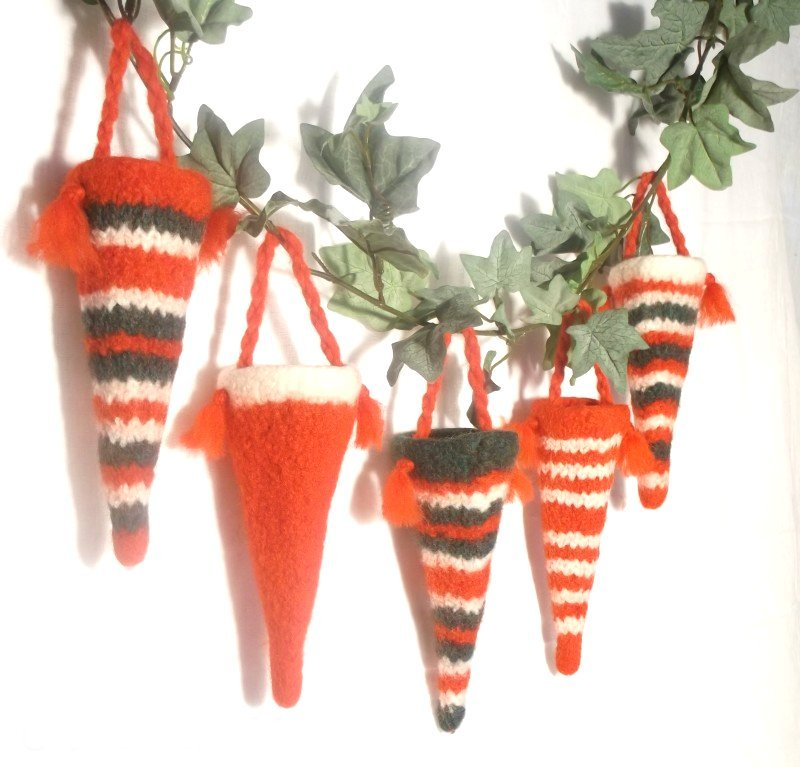 Felt Christmas Candy Cones Decoration