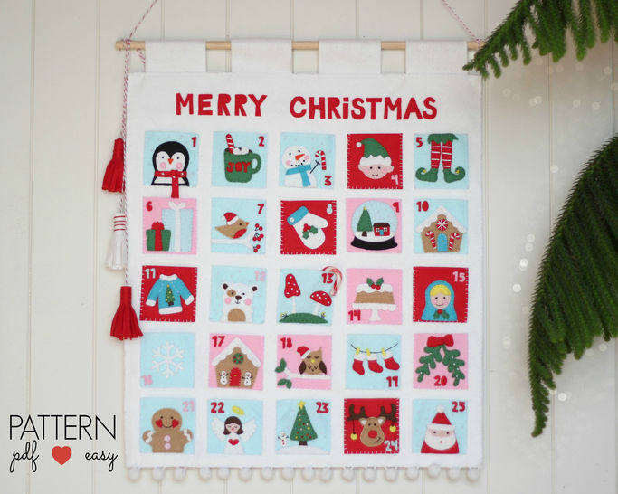 Christmas Advent Calendar Pattern, Felt Advent Calendar, Countdown Advent Calendar, Christmas Calendar Pattern  at Makerist - Image 1