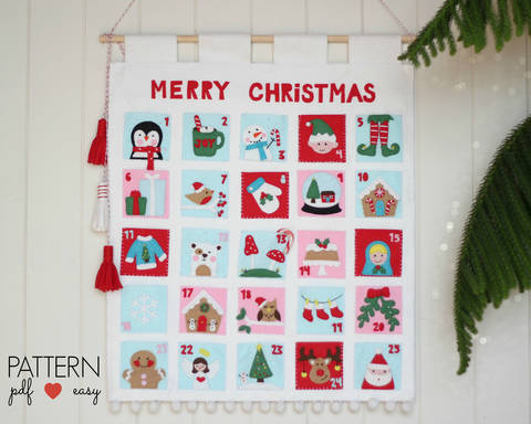 Christmas Advent Calendar Pattern, Felt Advent Calendar, Countdown Advent Calendar, Christmas Calendar Pattern  at Makerist